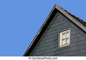 青, 木製である, 屋根, 窓, 部分, 背景
