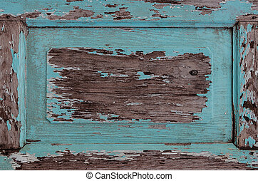 青, 木製のフレーム, 古い, 外気に当って変化した