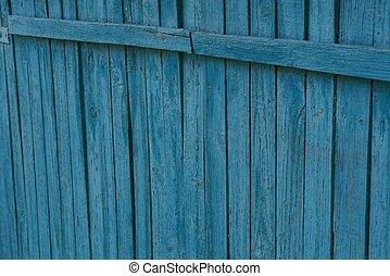 青, 木製の肉質, の, 古い, 薄くなりなさい, フェンス, 板