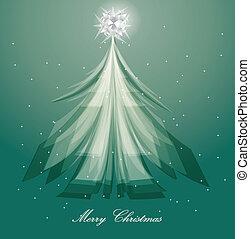 青, 木, デザイン, 芸術的, 背景, クリスマス