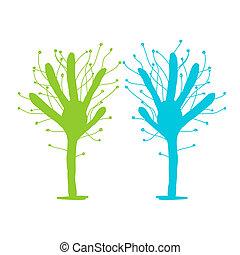 青, 木, 緑, 手, デザイン, あなたの