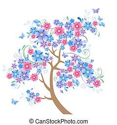青, 木, 花が咲く