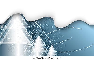 青, 木, 雪, ベクトル, 背景, 落ちる, クリスマス