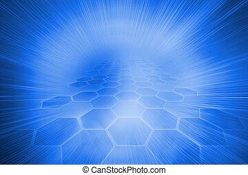 青, 未来派, 六角形, 背景