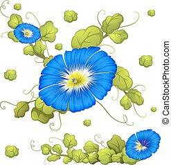 青, 栄光, seamless, 朝, 背景, 花