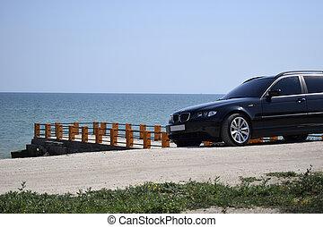 青, 桟橋, sea., 自動車, 日当たりが良い, 駐車される, i'ts, 日, 空