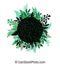 青, 植物, 抽象的, ベクトル, 背景, 花
