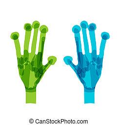 青, 概念, エコロジー, 緑, デザイン, あなたの, hands.