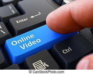 青, 概念, オンラインで, -, button., ビデオ, キーボード