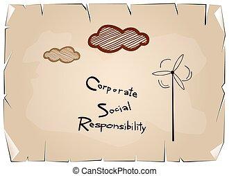 青, 概念, ペーパー, 責任, 社会, 企業である