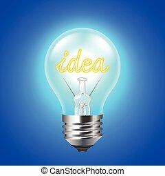 青, 概念, ライト, 考え, 背景, 電球