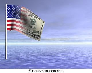 青, 概念, 上に, ドル, アメリカ人, 私達, 海洋水, 旗, レンダリングした, 3d