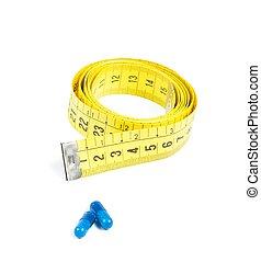 青, 概念, 医学, 食事, 測定, 前部, テープ, 丸薬