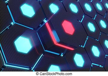 青, 概念, 抽象的, レンダリング, 白熱, 背景, 六角形, 未来派, 3d