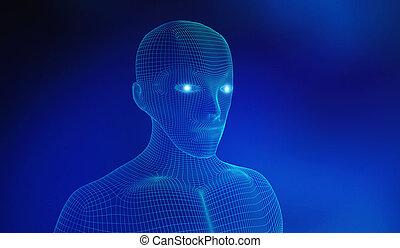 青, 概念, 知性, wireframe, ライン, 人工, human., 接続, 背景, イラスト, モデル, 技術, 未来派, 3d