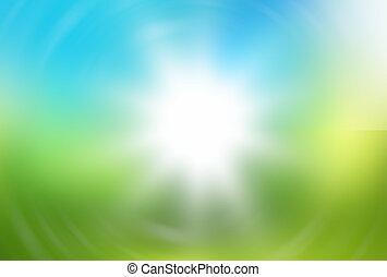 青, 概念, 自然, ligh, 緑の背景, 味方