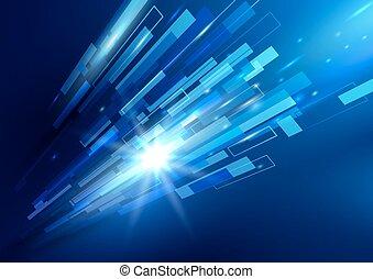 青, 概念, 長方形, 抽象的, 動き, やあ、こんにちは技術, 背景, デジタルの技術