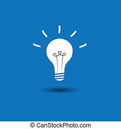 青, 概念, ico, ライト, 抽象的, -, 考え, ベクトル, 背景, 電球