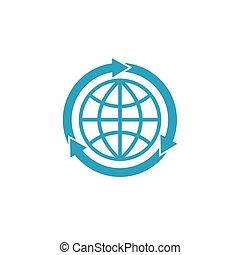 青, 概念, mockup, 地球, 印, globalization, 矢, ロゴ