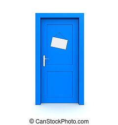 青, 模造, ドア, サインを閉じた