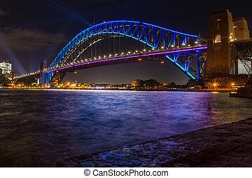 青, 橋, 明るくされた, 港, 色, シドニー