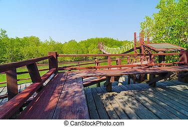 青, 橋, 自然, 空, 木製である, 森林, タイ, 赤