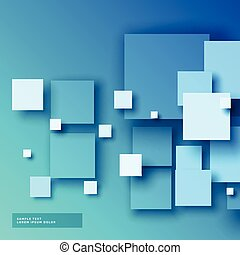 青, 正方形, 背景, 3d