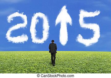 青, 歩くこと, 空, 2015, ビジネスマン, 白, 草, 雲