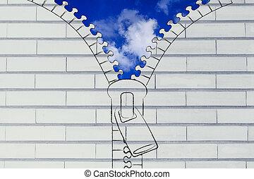 青, 比喩, ジッパー, 開始, ふんわりしている, 空, の上, 楽天主義, 雲