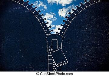 青, 比喩, 空, ジッパー, 開かれる, 楽天主義