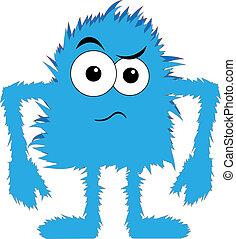 青, 毛がふさふさしている, モンスター, 混乱, 顔