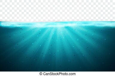 青, 水中, イラスト, 海洋水, バックグラウンド。, ベクトル, 地平線, surface., 透明