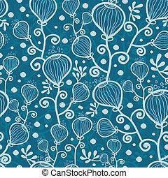 青, 水中, パターン, 抽象的, seamless, 植物, 背景