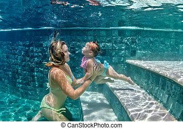 青, 水中, 母, 子供, pool0, 浜, 水泳
