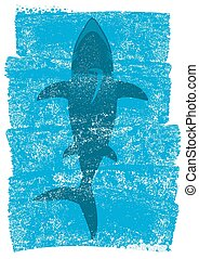 青, 水中, 背景, イラスト, 海洋, ベクトル, サメ, waves.