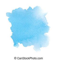 青, 水彩画, 抽象的, 白い背景