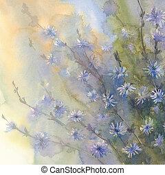 青, 水彩画, 花, 背景