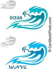 青, 波頭を立てる, 海洋, カール, 波