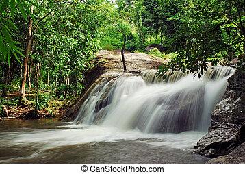 青, 流れ, 自然, 滝, 森林, タイ