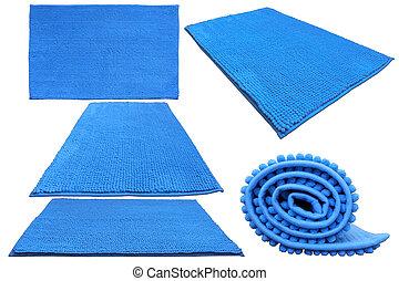 青, 浴室, 柔らかい, カーペット