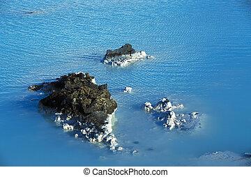 青, 浴室 水, 地熱, 礁湖, 乳白色, 白