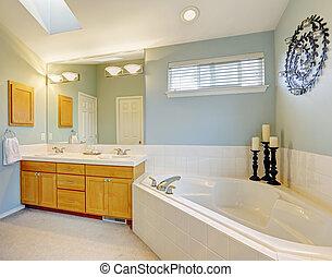 青, 浴室, 調子, すがすがしい, ライト, 内部