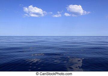 青, 海, 地平線, 海洋, 完全, 中に, 冷静