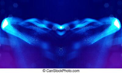 青, 深さ, v18, レンダリング, 形態, 科学, microcosm, bokeh., 表面, フィクション, 微片, フィールド, 白熱, space., 背景, 線, grid., ∥あるいは∥, 3d