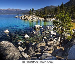 青, 港, 日当たりが良い, 晴れわたった空, 湖, 砂, tahoe, water., ネバダ, 日