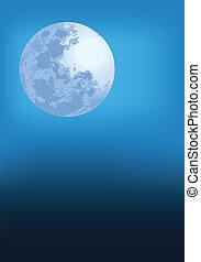 青, 満月, ベクトル, イラスト, 夜