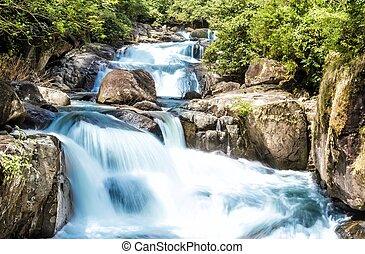 青, 滝, 流れ, タイ, 森林