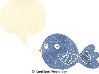青, 漫画, 鳥, レトロ