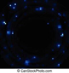 青, 火花, 暗い, ベクトル, 背景, 光沢がある