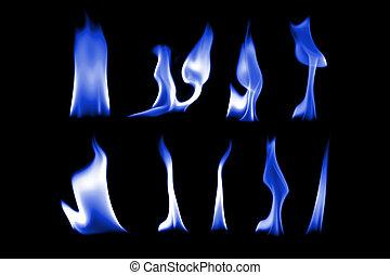 青, 火, ライト, コレクション, 黒い背景